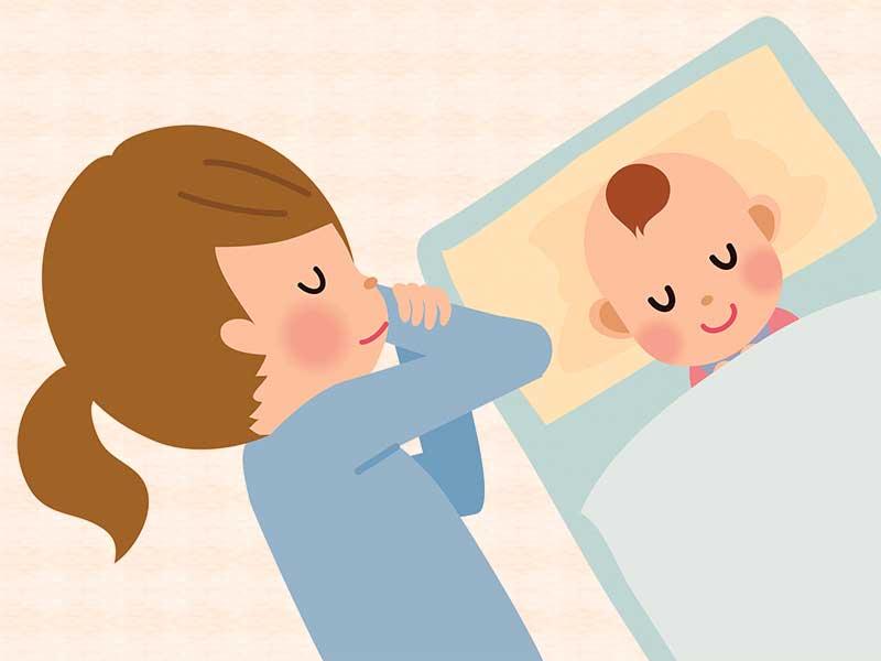 赤ちゃんと一緒に寝てるママのイラスト