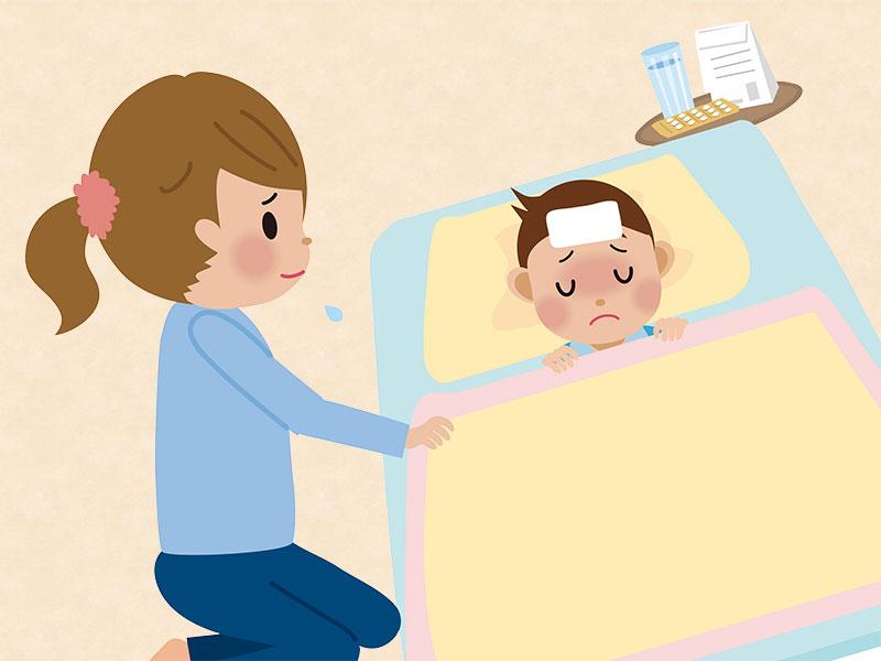 熱が出てるために布団で寝て安静にしてる子供のイラスト