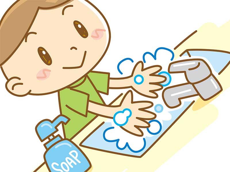 手洗いしてる子供のイラスト