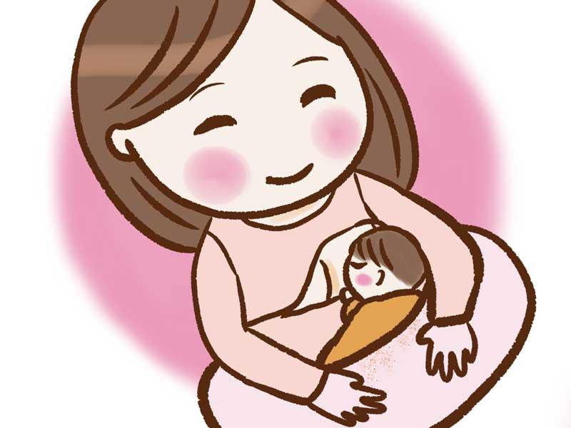 授乳をしているお母さんと赤ちゃんのイラスト