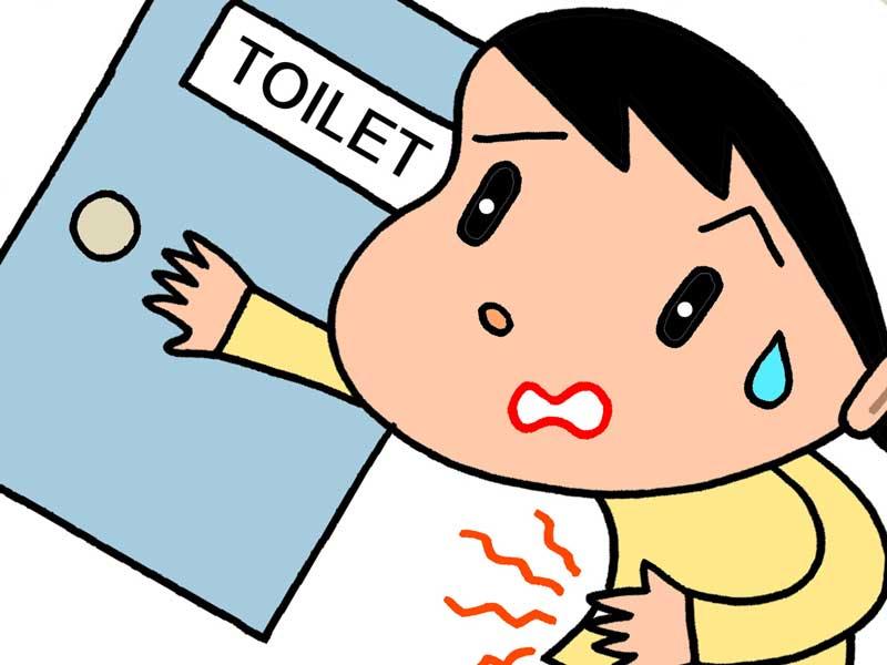 トイレを急ぐ女性のイラスト