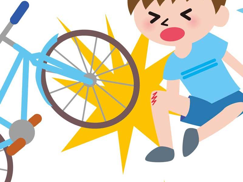 自転車から転んでけがした子供のイラスト