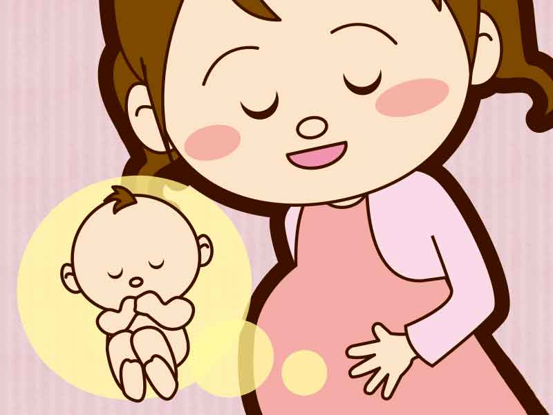 胎動でお腹の赤ちゃんのことを考えてる臨月の妊婦さんのイラスト