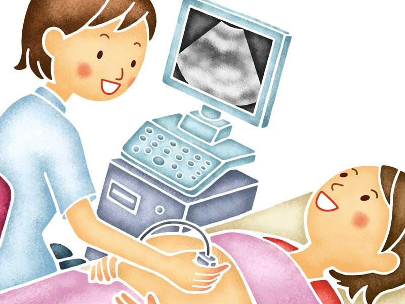 妊娠検査を受けるイラスト