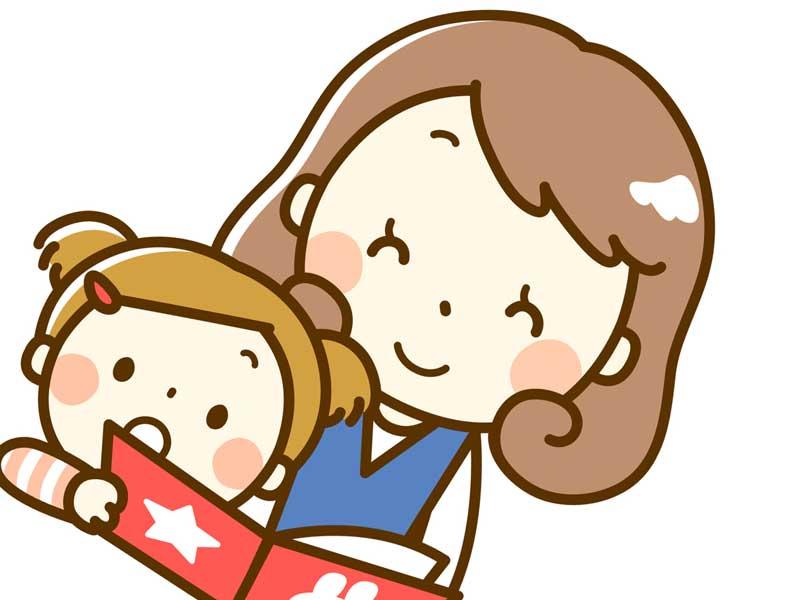 一緒に絵本を見ているお母さんと赤ちゃんのイラスト
