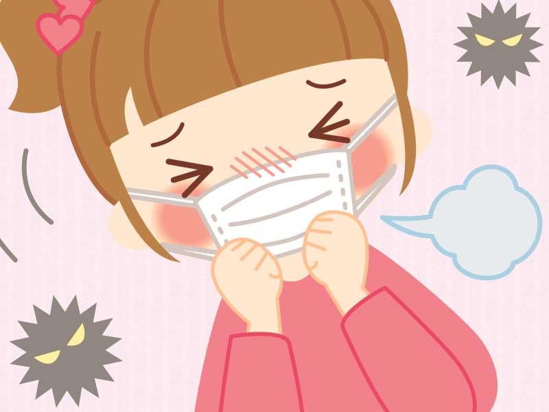 夏風邪でマスクをしてるのに咳が止まらない女の子