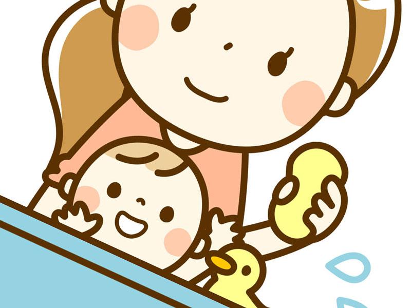 お風呂に入っている赤ちゃんのイラスト