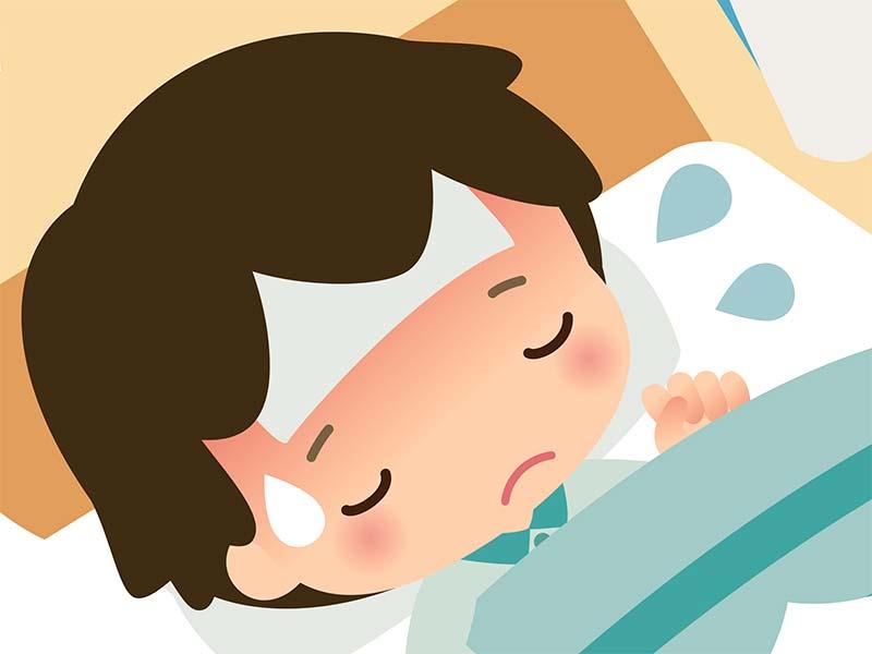 おたふく風邪と熱で寝て安静にしてる男の子のイラスト