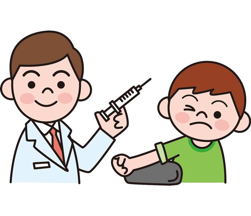 医者が子供に注射するイラスト
