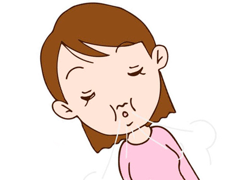 口をすぼめて意識して呼吸をしてる女性のイラスト