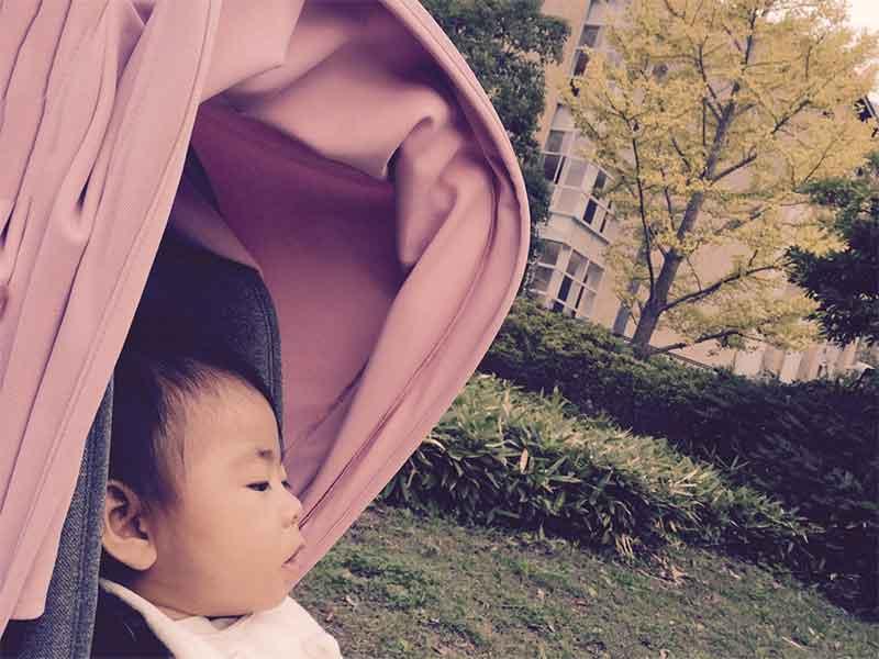 風防付きのベビーカーで寝てる赤ちゃん