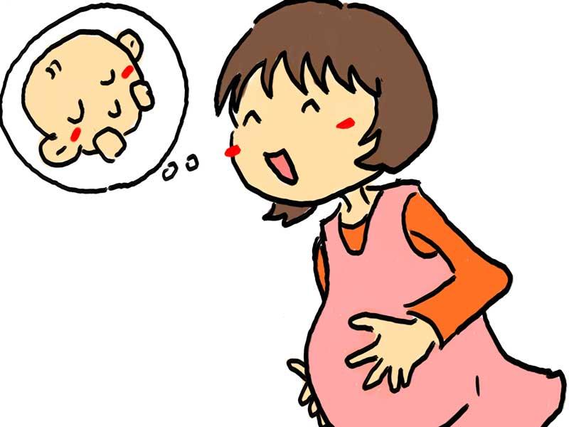 赤ちゃんを想像して喜んでいる妊婦さんのイラスト