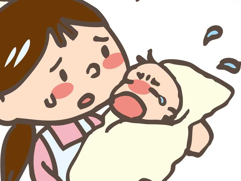 赤ちゃんを心配しているお母さんのイラスト