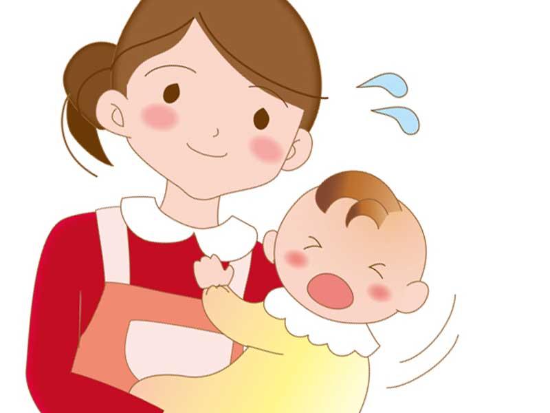 病気になった赤ちゃんを抱っこしているお母さんのイラスト