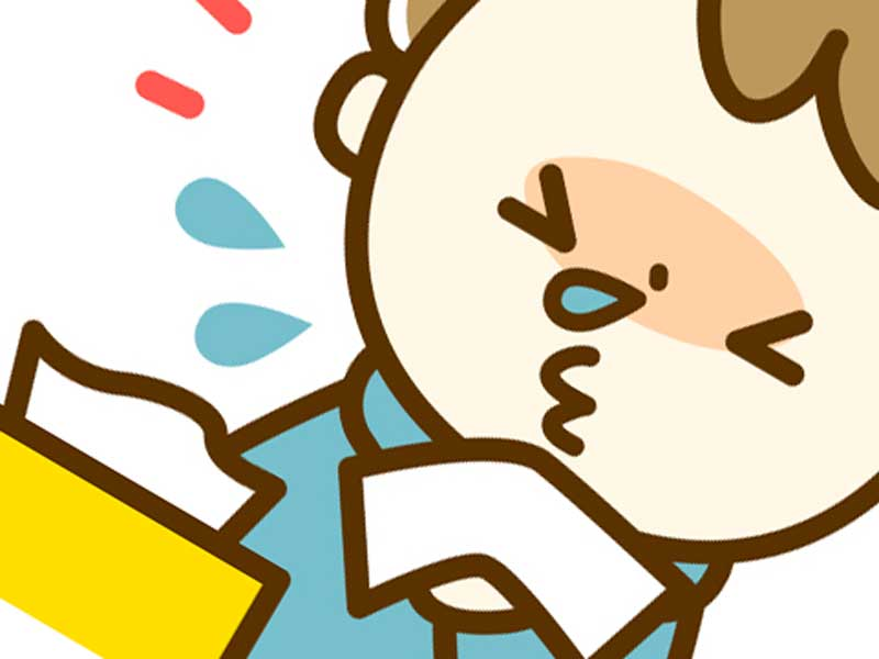 鼻水を拭く子供のイラスト