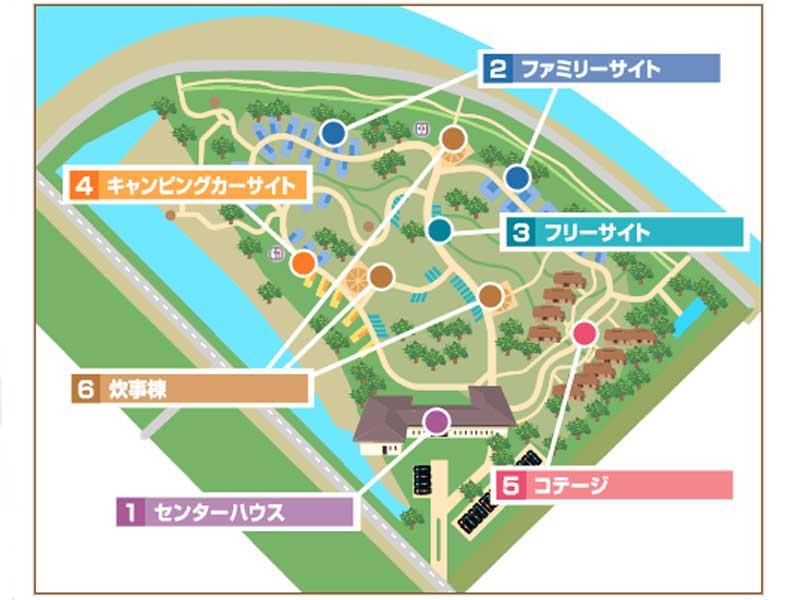 赤穂海浜公園オートキャンプ場マップ