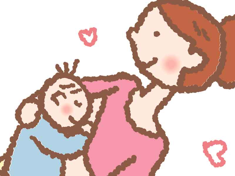 赤ちゃんに授乳してるママのイラスト