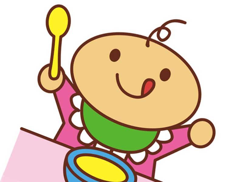 ご飯を食べている赤ちゃんのイラスト