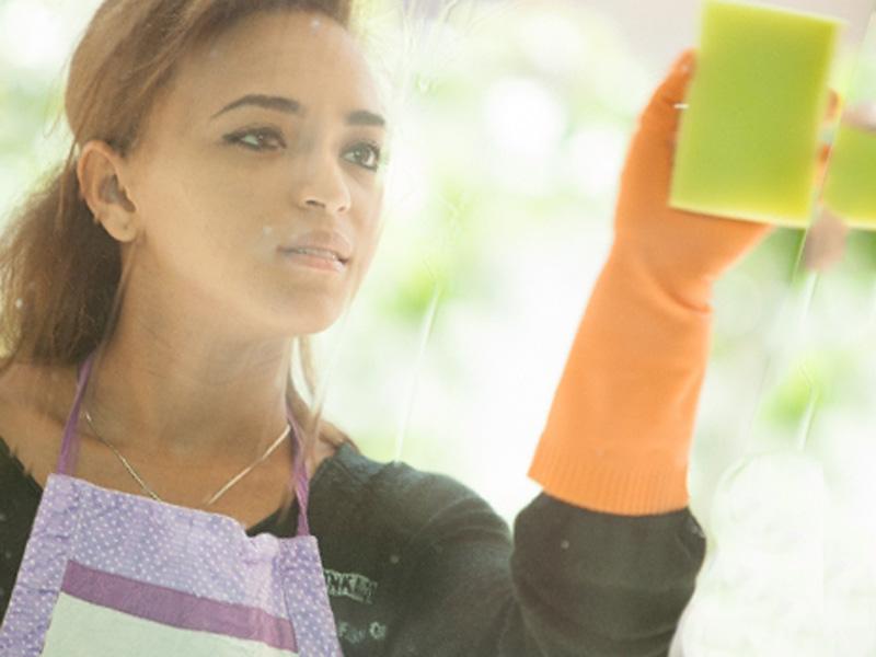 窓掃除をしている女性