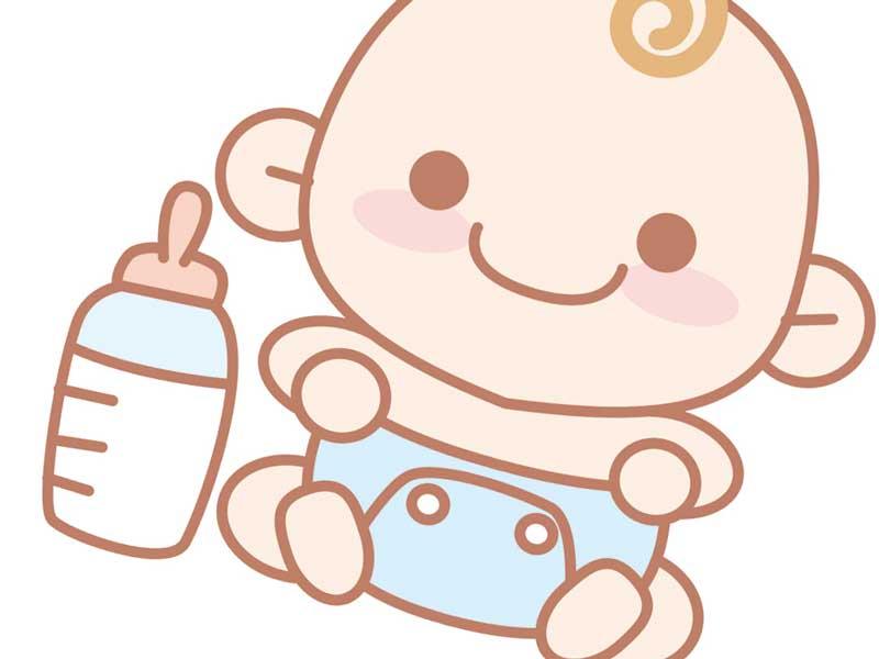 オムツしている赤ちゃんとミルクのイラスト