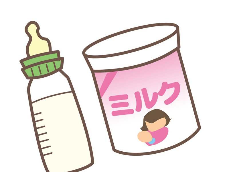 哺乳瓶と粉ミルクのイラスト