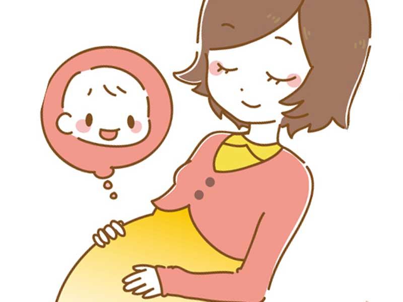 お母さんのお腹の中で笑っている赤ちゃんのイラスト