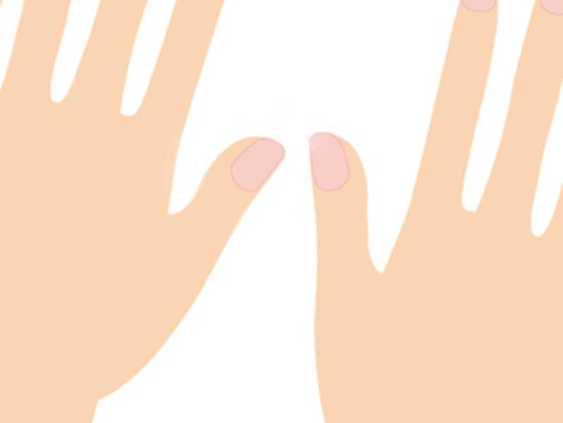 右手の親指が左手より長い子供の手のイラスト