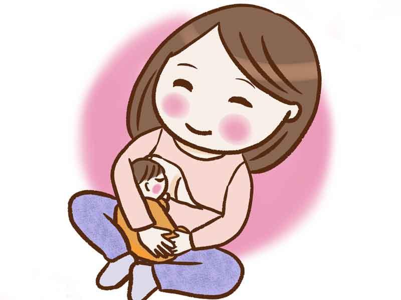 授乳しているお母さんと赤ちゃんのイラスト
