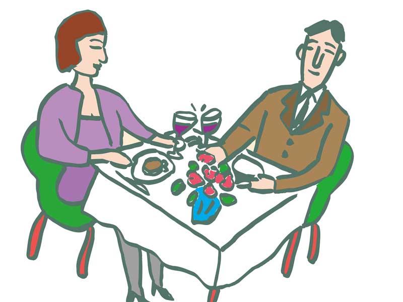 一緒に食事する男女のイラスト