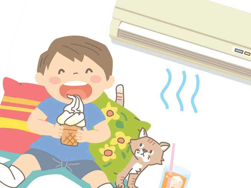 クーラーが利いてる部屋でアイスを食べる子供のイラスト