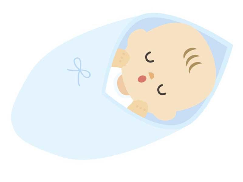 おくるみをしている赤ちゃんのイラスト