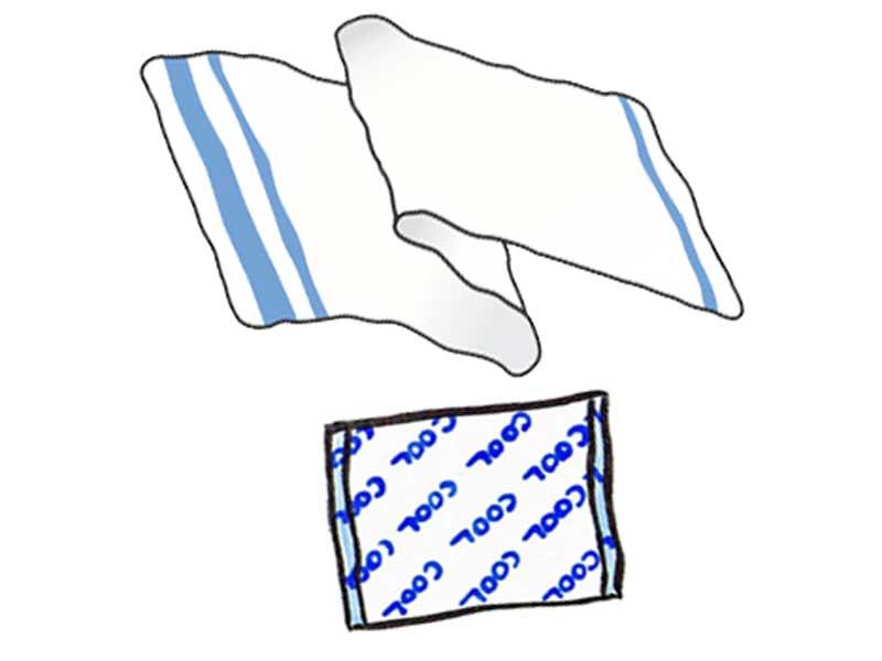 保冷剤とタオルのイラスト