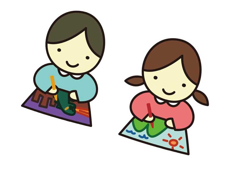 絵を描いている子供たちのイラスト
