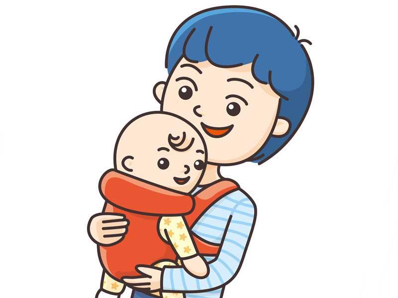 抱っこ紐で赤ちゃんを抱っこしているママのイラスト