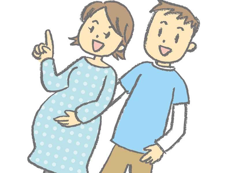 散歩をしている妊婦さん夫婦のイラスト