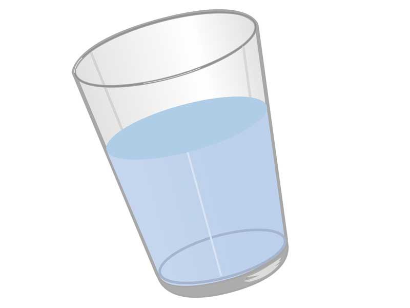 水が入っているコップのイラスト