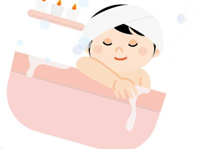 入浴している妊婦さんのイラスト