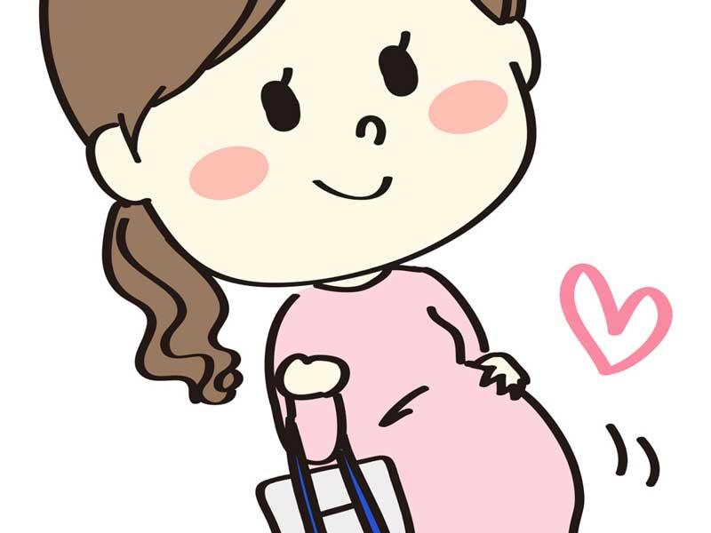 出かける妊婦さんのイラスト