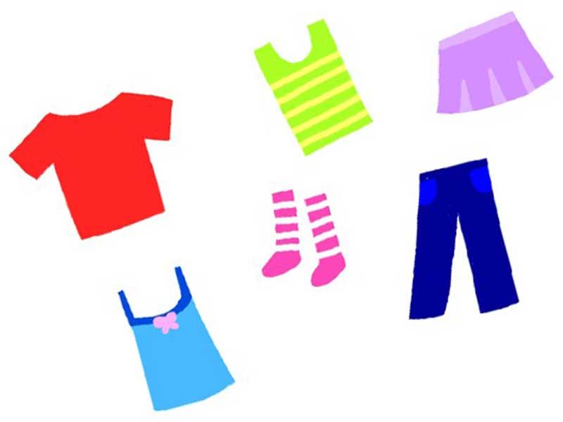 スカート、ズボンなど各種の服装のイラスト