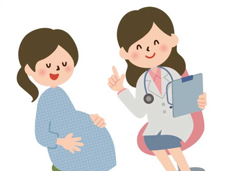 先生と話をしている妊婦さんのイラスト