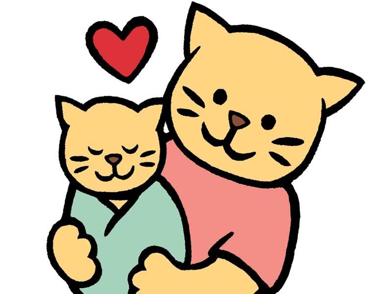 子猫の赤ちゃんを抱っこするママ猫のイラスト