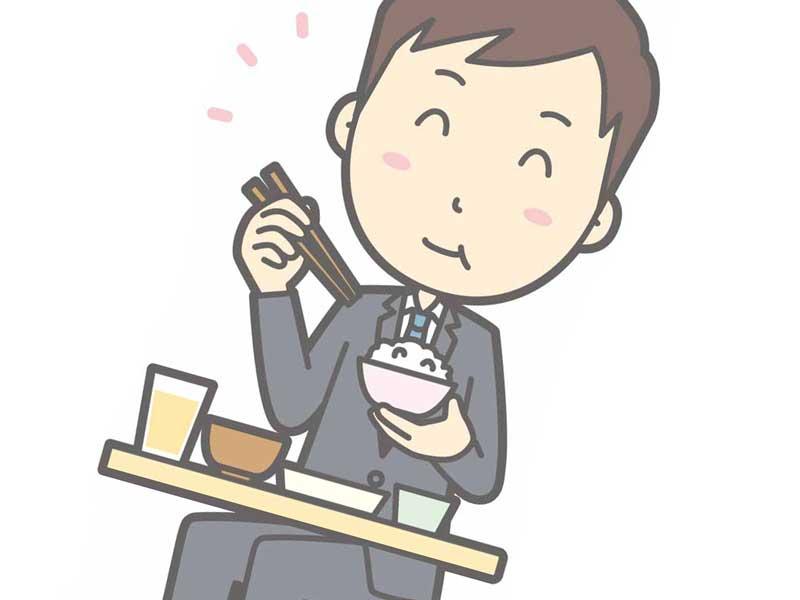 一人で外食をする男性のイラスト