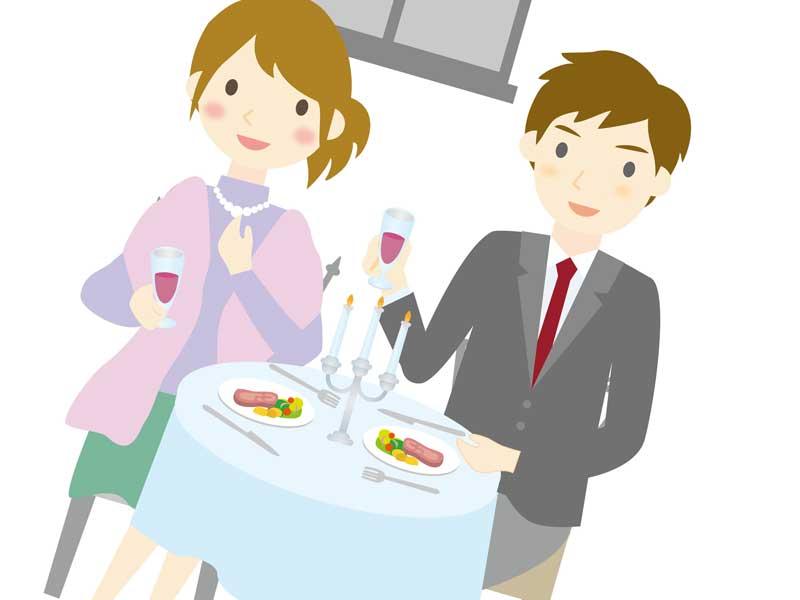 二人でディナーをしている妻と夫のイラスト