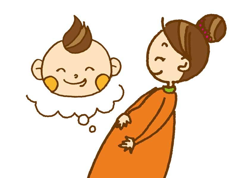 赤ちゃんを想像して呼吸する妊婦さんのイラスト
