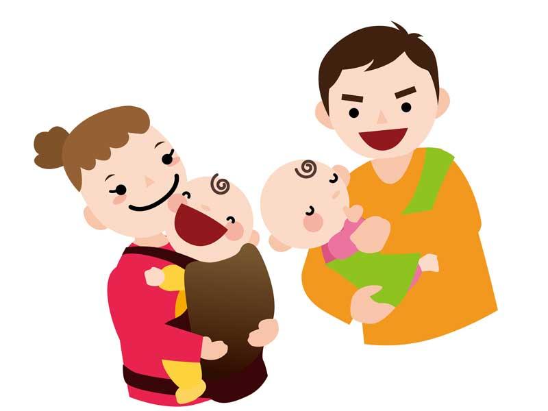 双子の赤ちゃんを抱っこしているお母さんとお父さんのイラスト