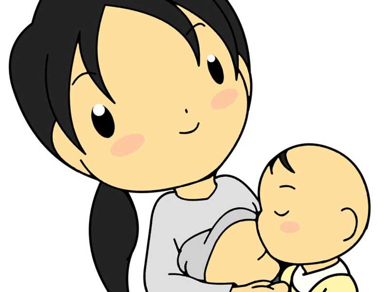 母乳を飲んでいる赤ちゃんのイラスト