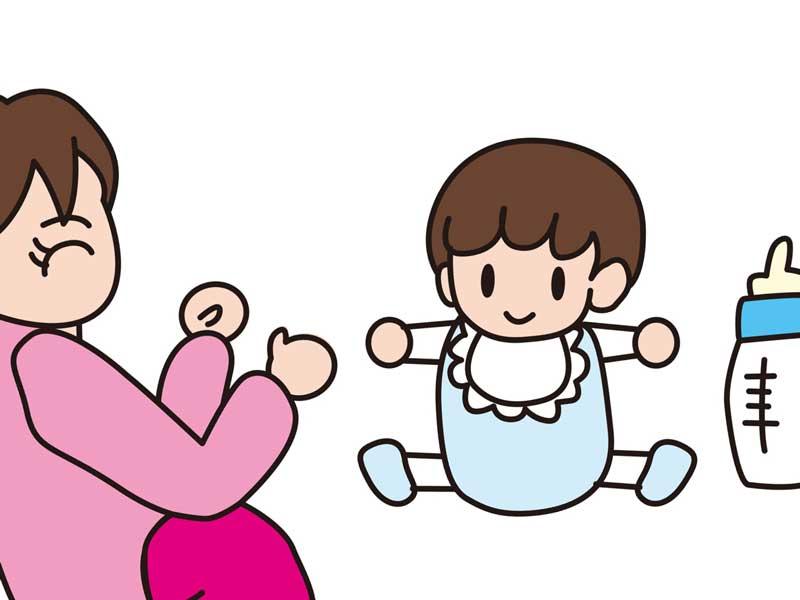 喜んでミルクを飲む赤ちゃんのイラスト