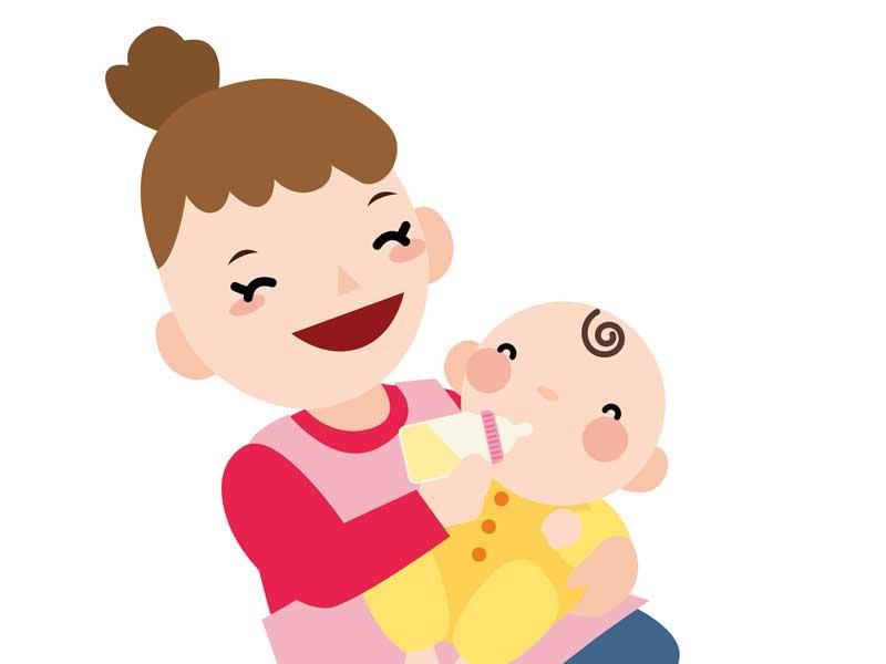 横抱きでミルクを飲んでいる赤ちゃんのイラスト