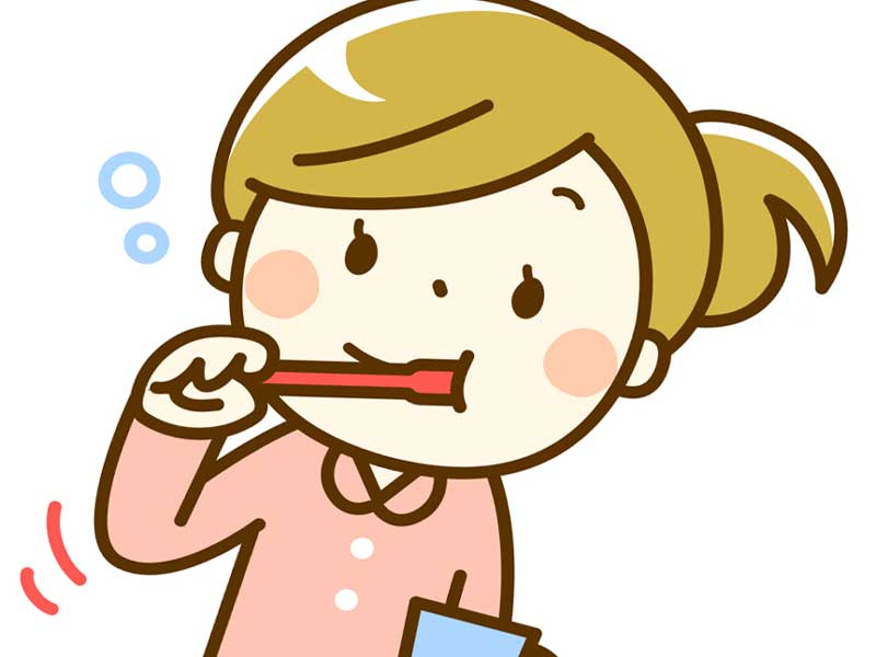 歯磨きをする妊婦のイラスト