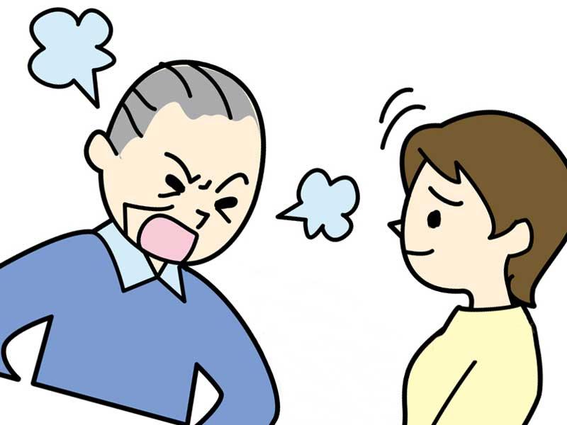 姑の話を聞きながら我慢する嫁のイラスト